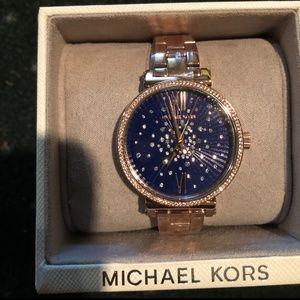 Michael Kors Sofie Rose Gold Tone Blue Watch
